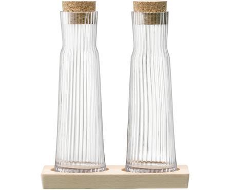 Essig- und Öl-Flaschen-Set Gio Line mit Rillenrelief, 3-tlg.