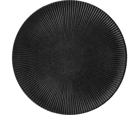 Speiseteller Neri mit Rillenstruktur in Schwarz matt