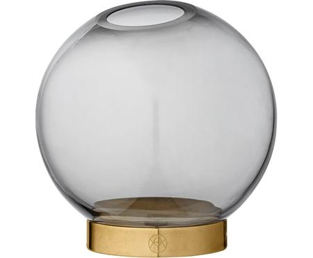 Kleine Glas-Vase Globe mit Metallsockel