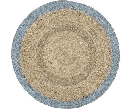 Okrągły, ręcznie tkany dywan z juty Shanta