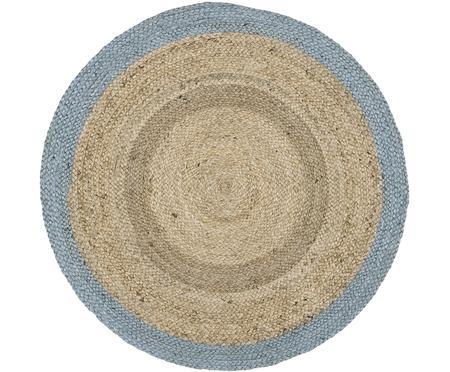 Runder Jute-Teppich Shanta mit blauem Rand, handgefertigt