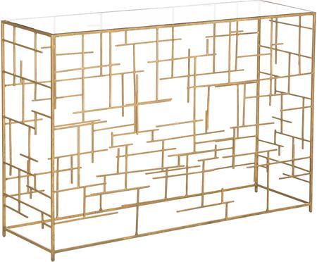 Console avec plateau en verre transparent et structure dorée Nola