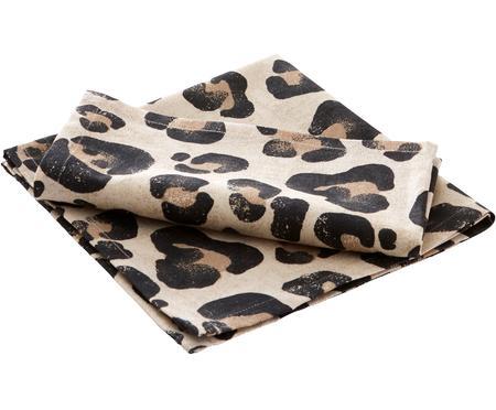 Tovagliolo in cotone con stampa leopardata Jill 2 pz