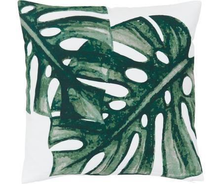 Kissenhülle Tropics mit Monstera Print in Grün/Weiß