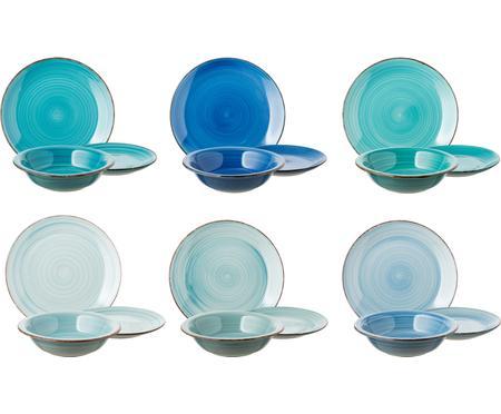 Set 18 piatti dipinti a mano in tonalità blu Baita, 6 persone