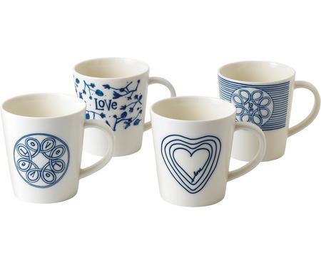 Gemusterte Tassen Love in Weiß/Blau, 4er-Set