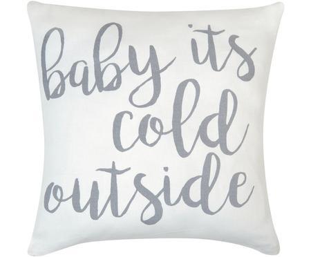 Kissenhülle Cold Outside mit Schriftzug