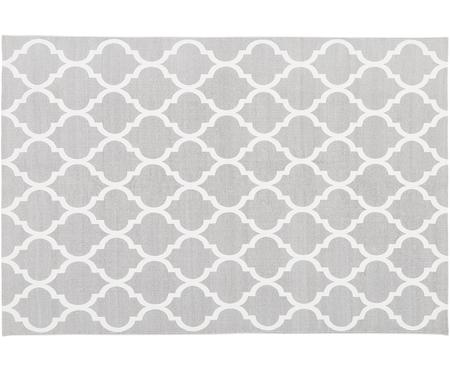 Handgeweven katoenen vloerkleed Amira in grijs/wit