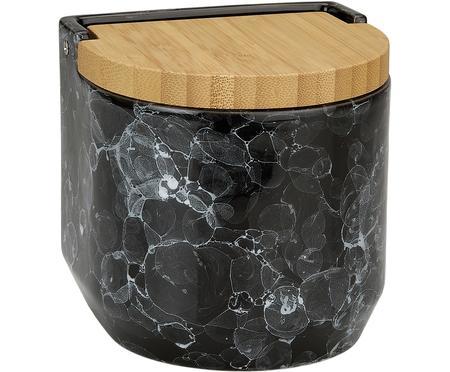 Boîte de rangement aspect marbre avec couvercle en bambou Bubble
