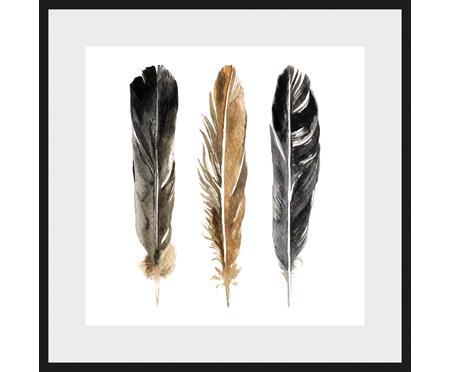 Gerahmter Digitaldruck Three Feathers