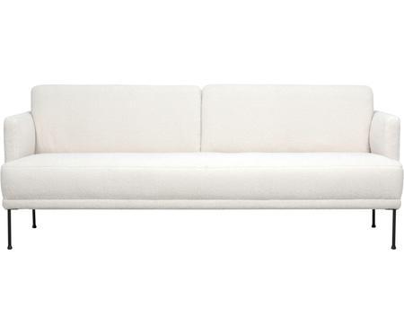 Teddy-Sofa Fluente (3-Sitzer) in Cremeweiß mit Metall-Füßen