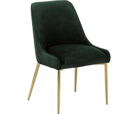 Chaise rembourrée en velours avec pieds dorésAva