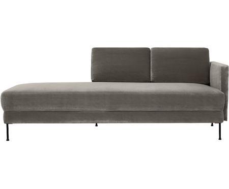 Chaise longue in velluto grigio Fluente