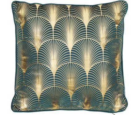 Samt-Kissen Whety mit glänzendem Art Deco Print, mit Inlett
