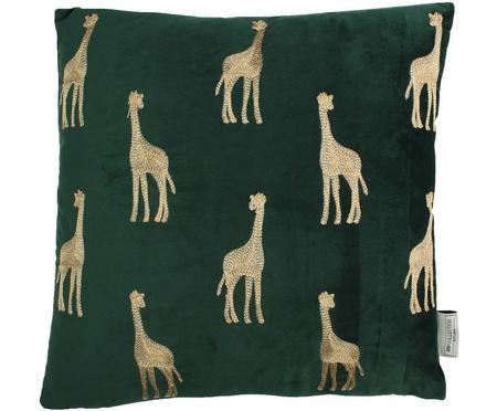 Cuscino con imbottitura in velluto ricamato Giraffe
