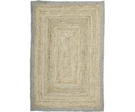 Handgefertigter Jute-Teppich Shanta mit grauem Rand