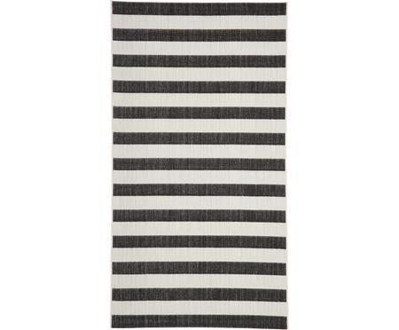 Gestreifter In- & Outdoor-Teppich Axa in Schwarz/Weiß