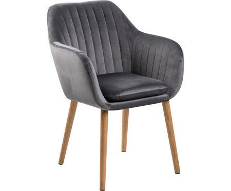 Krzesło z aksamitu z podłokietnikami Emilia