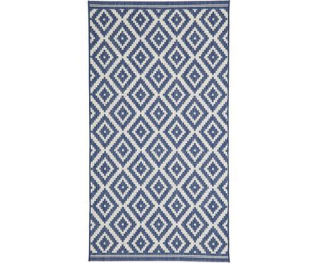 Gemusterter In- & Outdoor-Teppich Miami in Blau/Weiß
