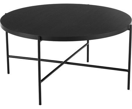 Table basse noire avec plateau en bois Mica