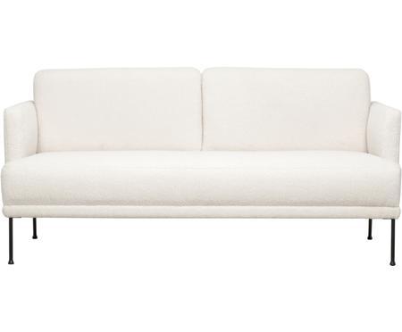 Teddy-Sofa Fluente (2-Sitzer) in Cremeweiß mit Metall-Füßen