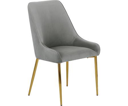 Sedia imbottita in velluto con gambe dorate Ava