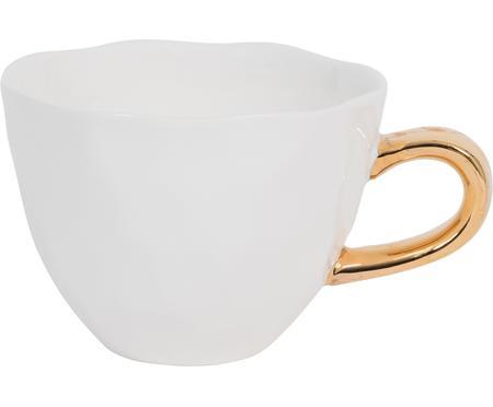 Tasse Good Morning in Weiß mit goldenem Griff
