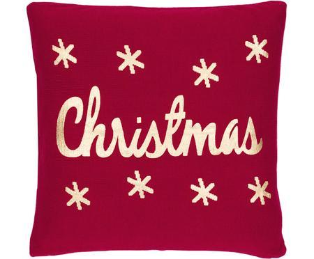Strick-Kissenhülle Christmas in Rot/Gold mit Schriftzug
