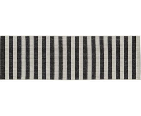 Gestreifter In- & Outdoor-Läufer Axa in Schwarz/Weiß