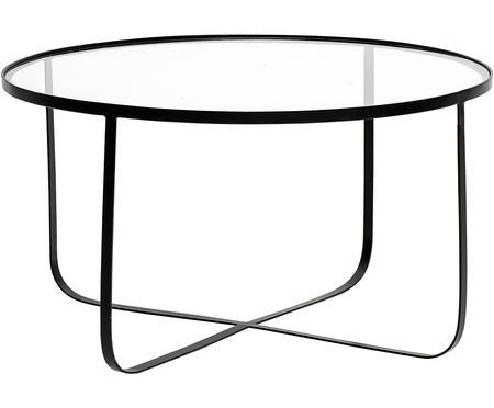Stolik kawowy z metalu ze szklanym blatem Harper