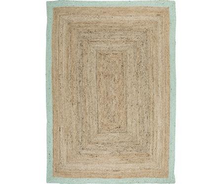 Handgefertigter Jute-Teppich Shanta mit mintgrünem Rand