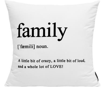 Kissenhülle Family in Schwarz/Weiß mit Schriftzug