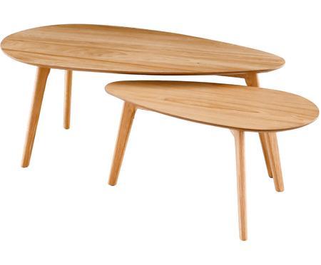 Set de mesas de centro en roble Bloom, 2uds.