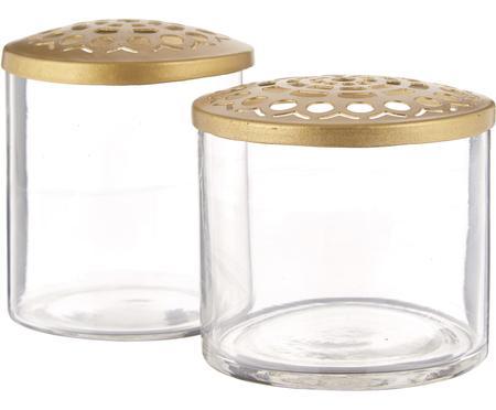 XS Vasen-Set Kastanje mit Metalldeckel, 2-tlg.