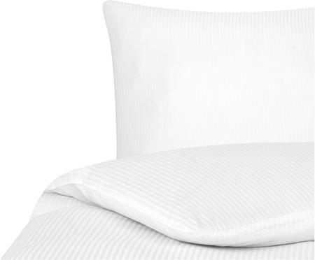 Satinstreifen-Bettwäsche Stella in Weiß