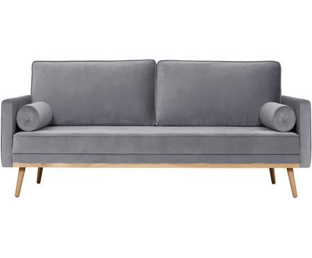 Samt-Sofa Saint (3-Sitzer) in Grau mit Eichenholz-Füße