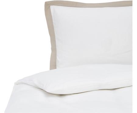 Gewaschene Leinen-Bettwäsche Eleanore in Weiß/Beige