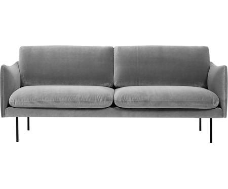 Samt-Sofa Moby (2-Sitzer) in Grau mit Metall-Füßen