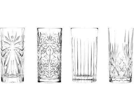 Verres à long drink en cristalavec embossage décoratif Bichiera, 4élém.