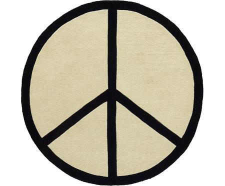 Runder handgetufteter Wollteppich Peace Out
