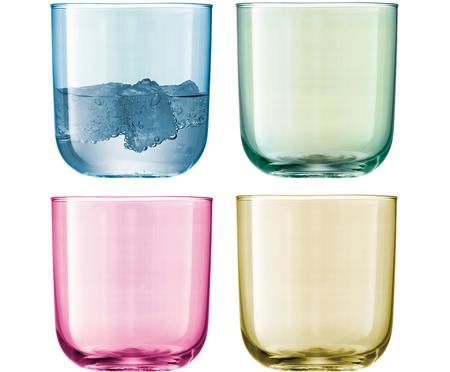Handbeschilderde waterglazen Polka in kleur, 4-delig