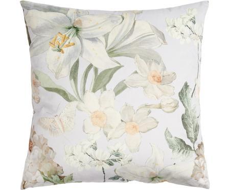 Samt-Kissen Rosalee mit Blumen-Muster, mit Inlett