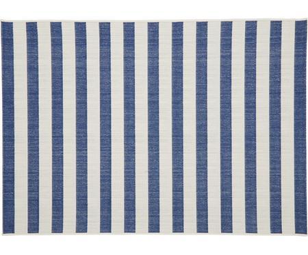 Gestreifter In- & Outdoor-Teppich Axa in Blau/Weiß