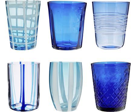 Mundgeblasene Wassergläser Melting Pot Sea in Blautönen, 6er-Set