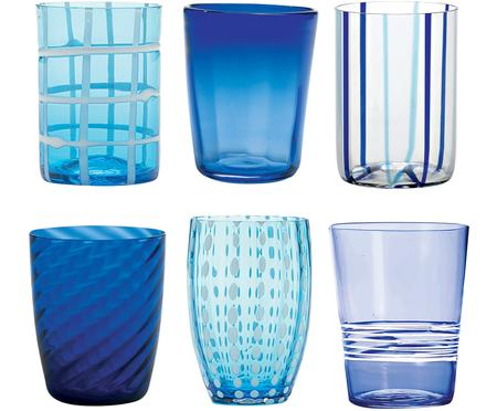 Vasos de vidrio soplado Melting Pot Sea, 6 uds.