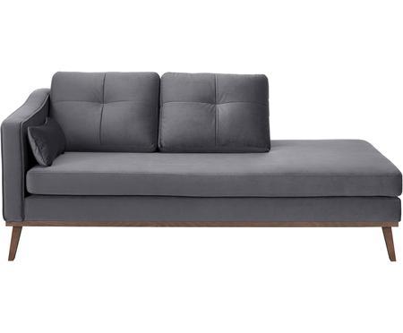 Chaise longue in velluto grigio scuro Alva