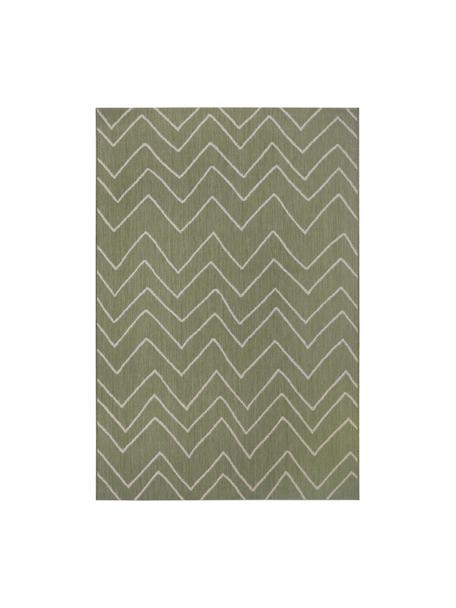 In- & outdoor vloerkleed Waves met zigzagpatroon, 100% polypropyleen, Groen, crèmewit, B 80 x L 150 cm (maat XS)