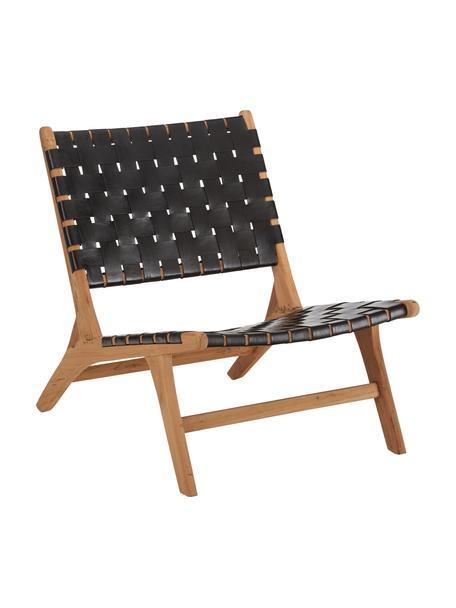 Poltrona in pelle con struttura in legno Coffee, Struttura: legno di teak naturale, Teak, nero, Larg. 63 x Prof. 75 cm