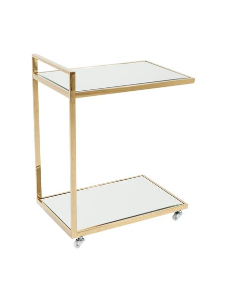 Servierwagen Classy Gold mit Spiegelglas, Gestell: Edelstahl, vermessingt, Räder: Kunststoff, Gestell: Goldfarben<br>Ablageflächen: Glas<br>Räder: Weiß, 50 x 64 cm