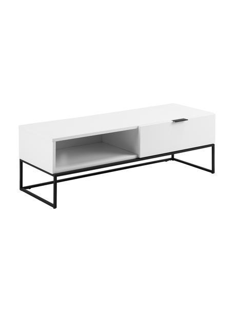 Weiße TV-Konsole Kobe mit Schublade, Korpus: Mitteldichte Holzfaserpla, Weiß, Schwarz, 120 x 40 cm